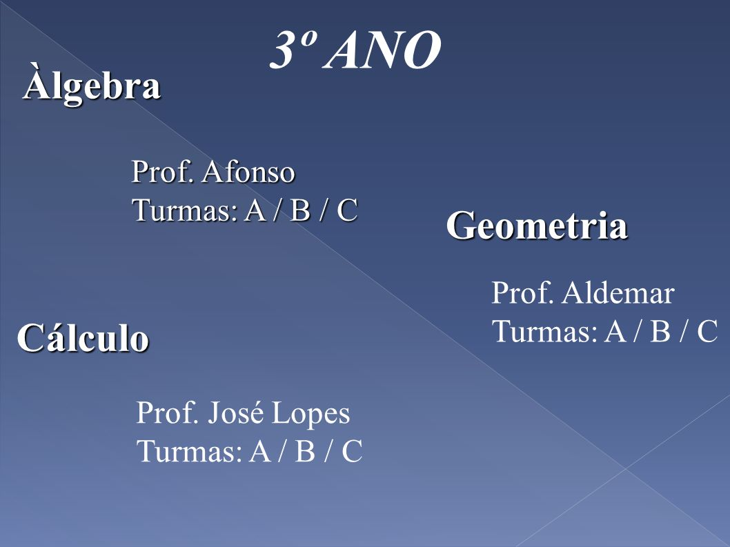 3º ANO Geometria Prof. Afonso Turmas: A / B / C Prof. José Lopes Turmas: A / B / C Àlgebra Prof. Aldemar Turmas: A / B / C Cálculo
