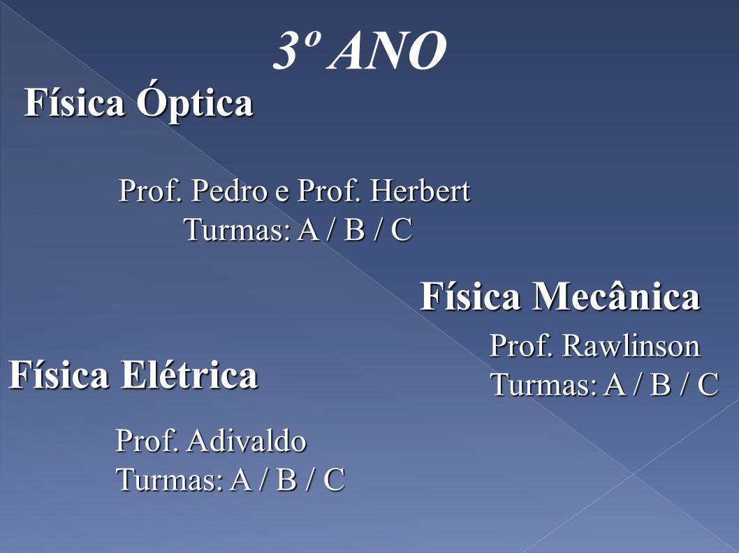 3º ANO Física Óptica Física Elétrica Prof. Adivaldo Turmas: A / B / C Prof. Pedro e Prof. Herbert Turmas: A / B / C Turmas: A / B / C Física Mecânica