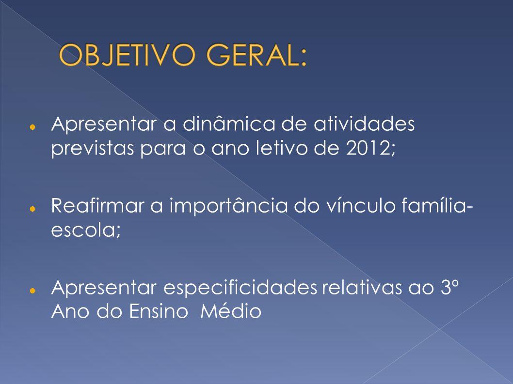 Apresentar a dinâmica de atividades previstas para o ano letivo de 2012; Reafirmar a importância do vínculo família- escola; Apresentar especificidade