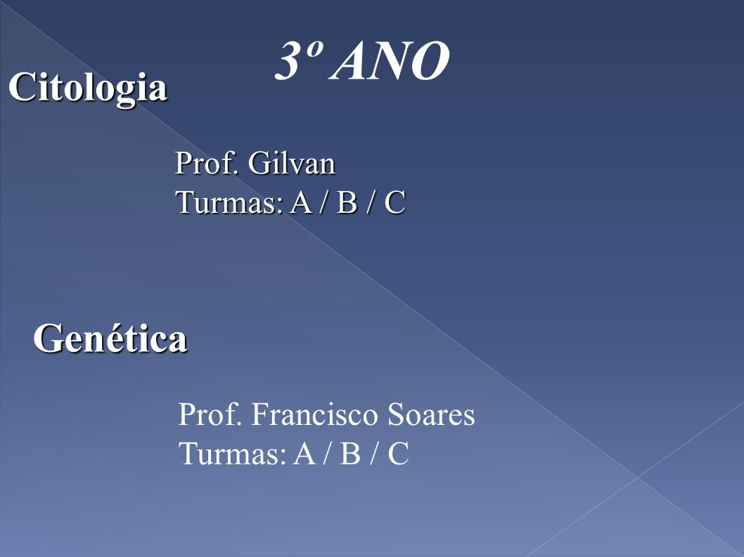 3º ANO Prof. Conrado Turmas: A / B / C Botânica Zoologia Prof. Gilvan Turmas: A / B / C