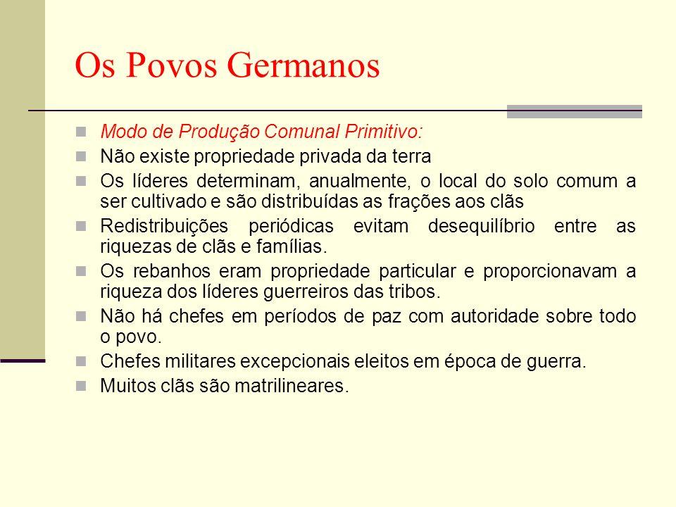 Os Povos Germanos Modo de Produção Comunal Primitivo: Não existe propriedade privada da terra Os líderes determinam, anualmente, o local do solo comum
