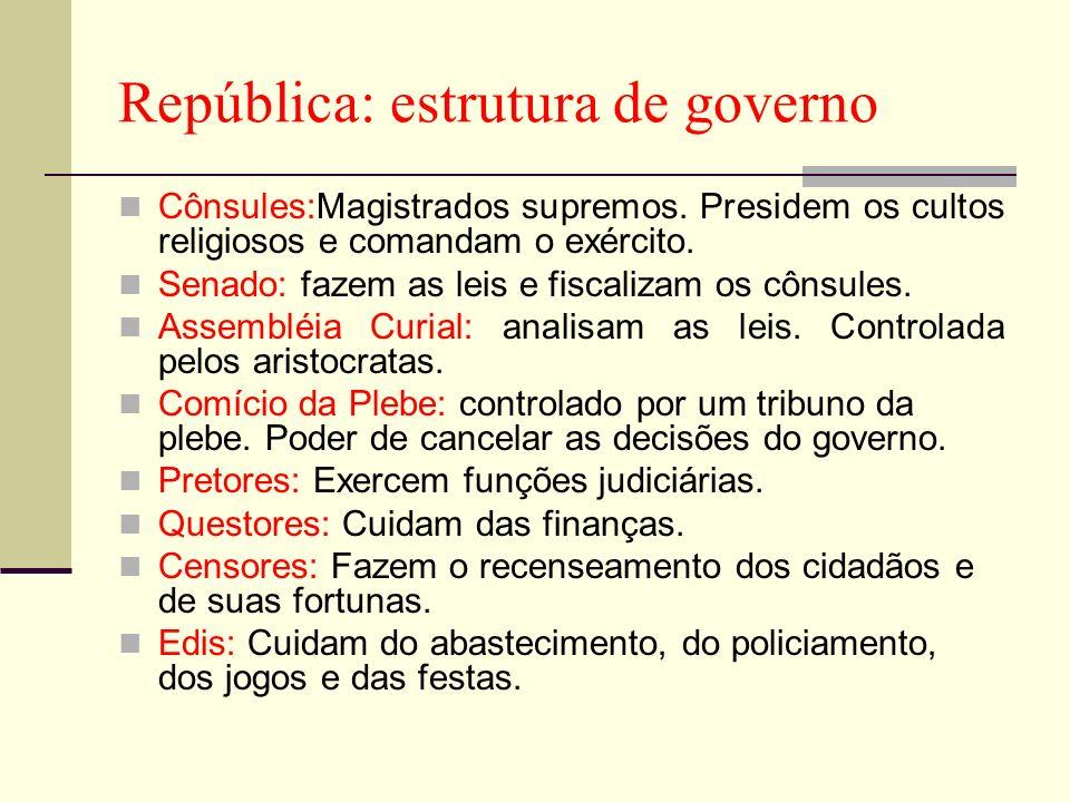 República: estrutura de governo Cônsules:Magistrados supremos. Presidem os cultos religiosos e comandam o exército. Senado: fazem as leis e fiscalizam