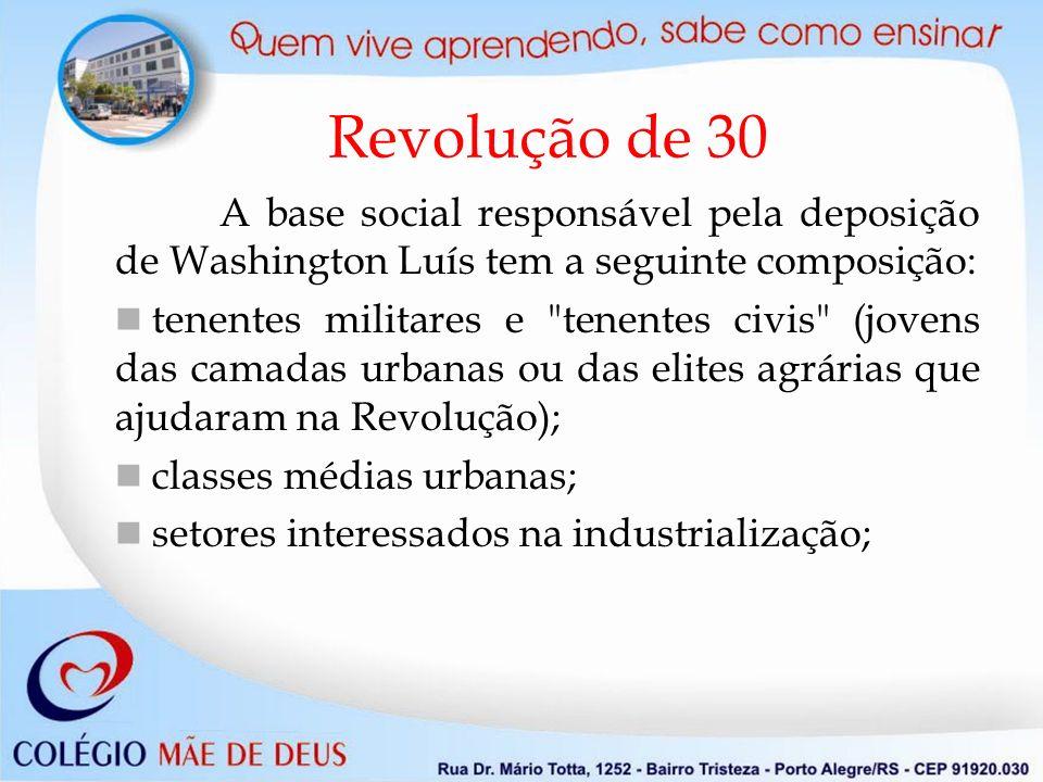 Revolução de 30 A base social responsável pela deposição de Washington Luís tem a seguinte composição: tenentes militares e