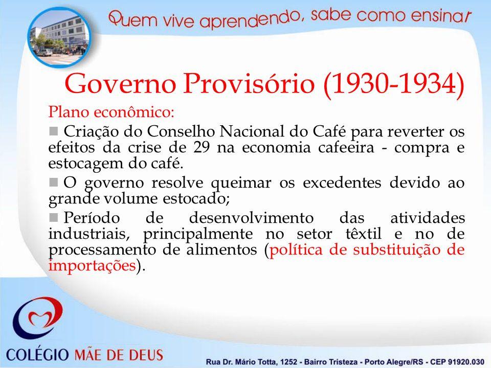 Governo Provisório (1930-1934) Plano econômico: Criação do Conselho Nacional do Café para reverter os efeitos da crise de 29 na economia cafeeira - compra e estocagem do café.