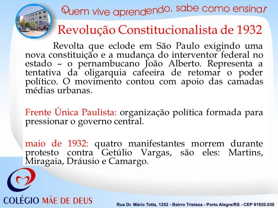 Revolução Constitucionalista de 1932 Revolta que eclode em São Paulo exigindo uma nova constituição e a mudança do interventor federal no estado – o pernambucano João Alberto.