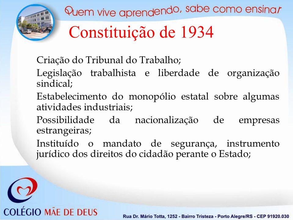 Criação do Tribunal do Trabalho; Legislação trabalhista e liberdade de organização sindical; Estabelecimento do monopólio estatal sobre algumas ativid