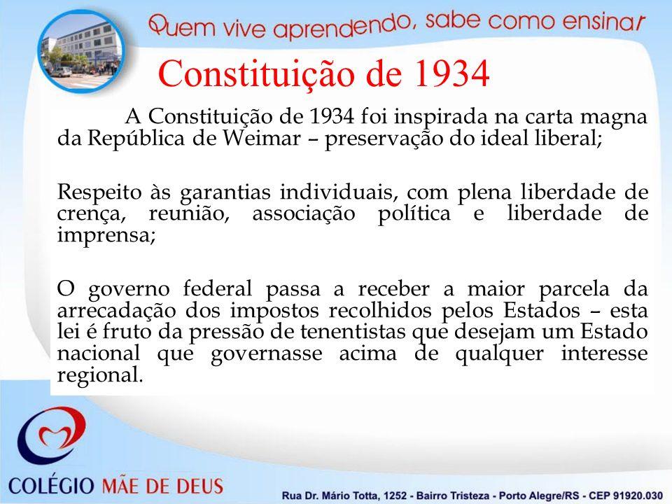 A Constituição de 1934 foi inspirada na carta magna da República de Weimar – preservação do ideal liberal; Respeito às garantias individuais, com plen