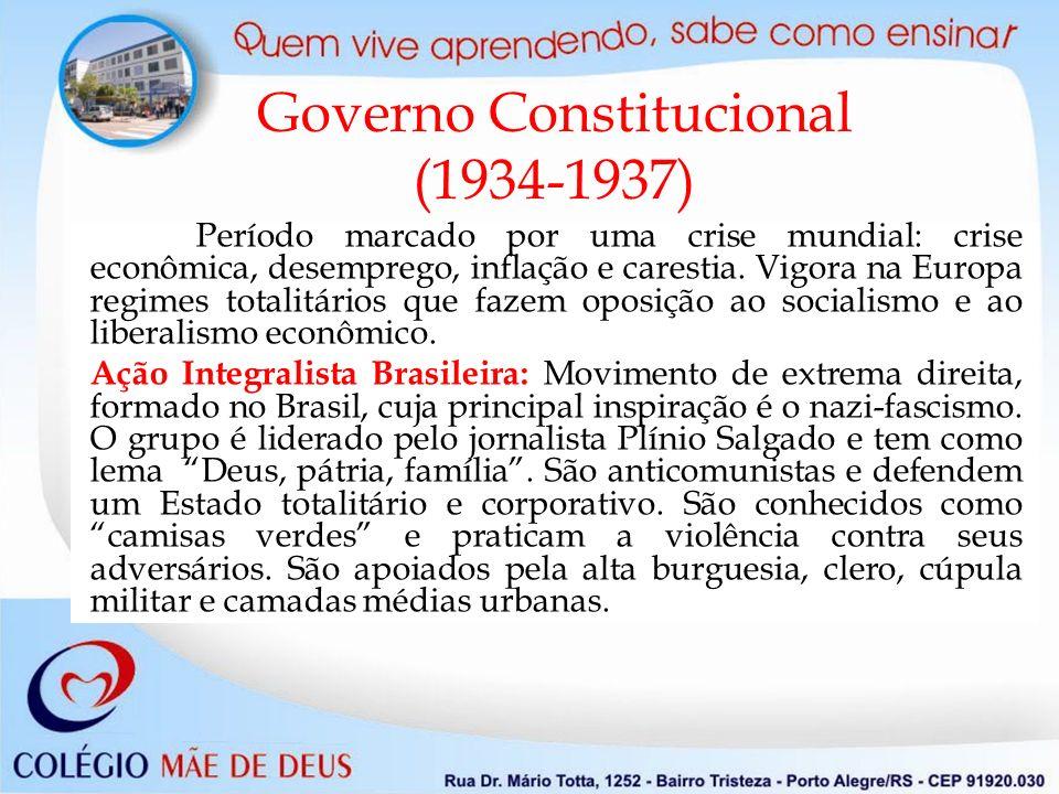 Governo Constitucional (1934-1937) Período marcado por uma crise mundial: crise econômica, desemprego, inflação e carestia. Vigora na Europa regimes t