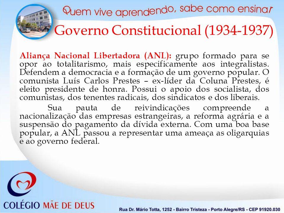 Aliança Nacional Libertadora (ANL): grupo formado para se opor ao totalitarismo, mais especificamente aos integralistas. Defendem a democracia e a for