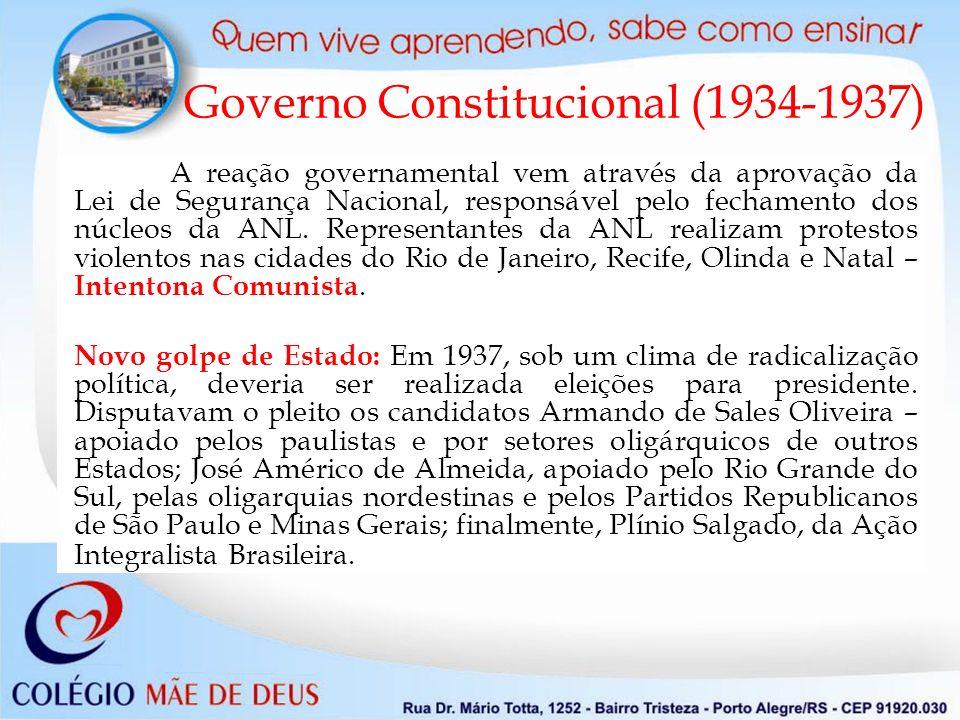 A reação governamental vem através da aprovação da Lei de Segurança Nacional, responsável pelo fechamento dos núcleos da ANL.