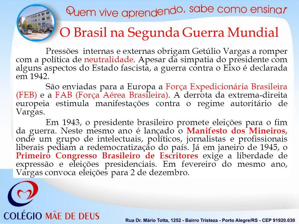 O Brasil na Segunda Guerra Mundial Pressões internas e externas obrigam Getúlio Vargas a romper com a política de neutralidade. Apesar da simpatia do