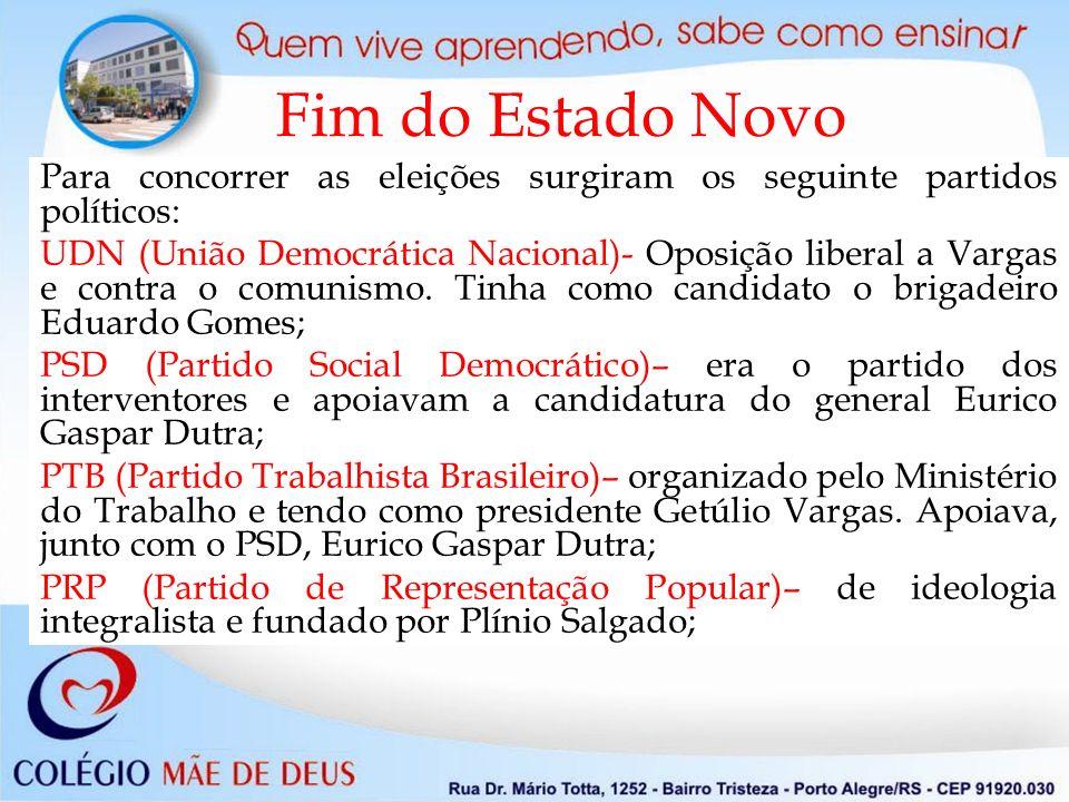 Fim do Estado Novo Para concorrer as eleições surgiram os seguinte partidos políticos: UDN (União Democrática Nacional)- Oposição liberal a Vargas e contra o comunismo.