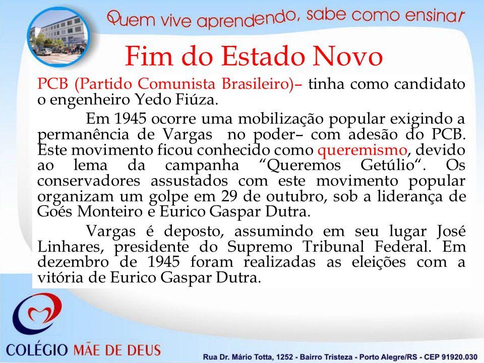 Fim do Estado Novo PCB (Partido Comunista Brasileiro)– tinha como candidato o engenheiro Yedo Fiúza. Em 1945 ocorre uma mobilização popular exigindo a