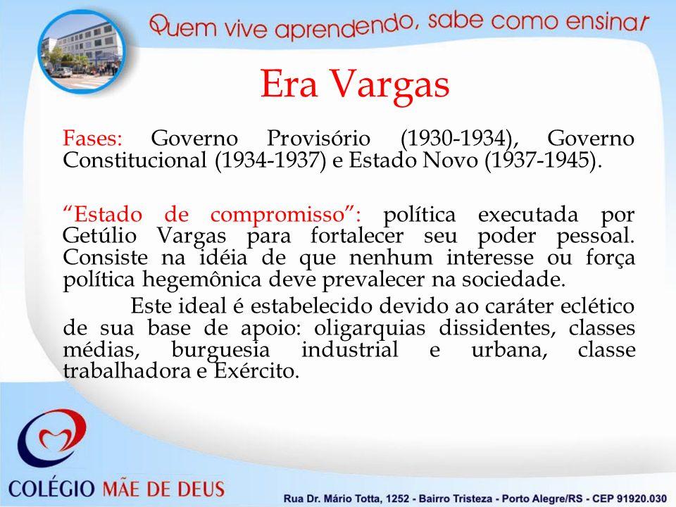 Era Vargas Fases: Governo Provisório (1930-1934), Governo Constitucional (1934-1937) e Estado Novo (1937-1945). Estado de compromisso: política execut