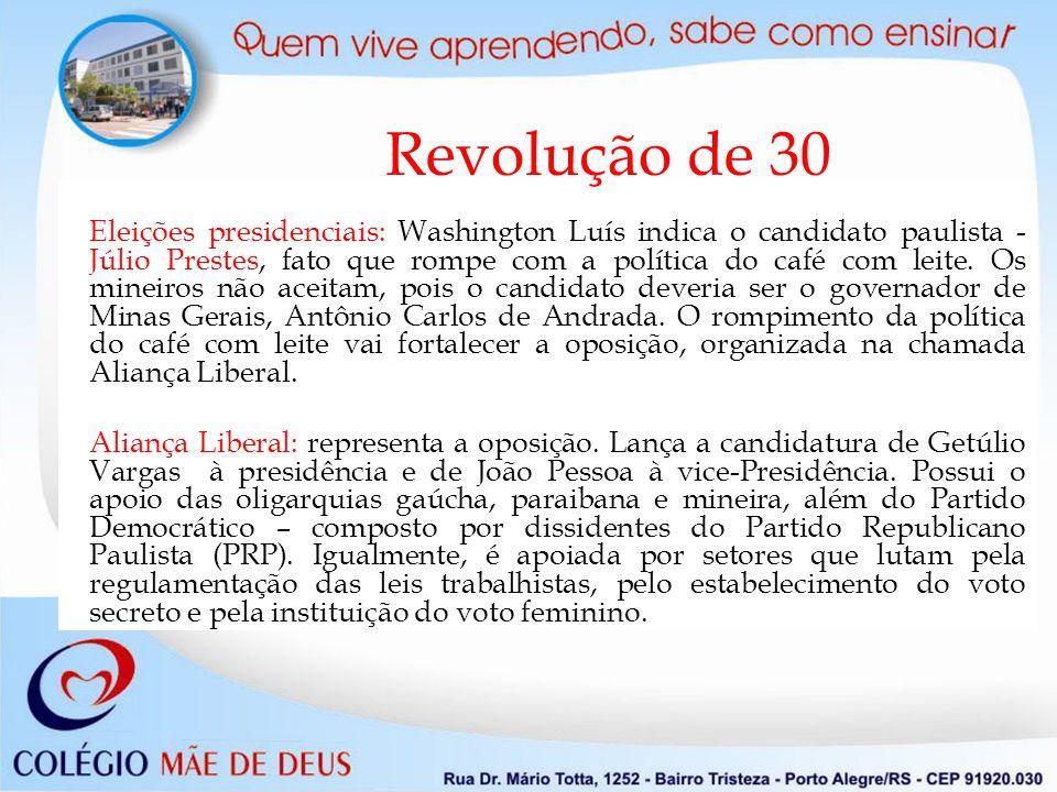 Revolução de 30 Eleições presidenciais: Washington Luís indica o candidato paulista - Júlio Prestes, fato que rompe com a política do café com leite.