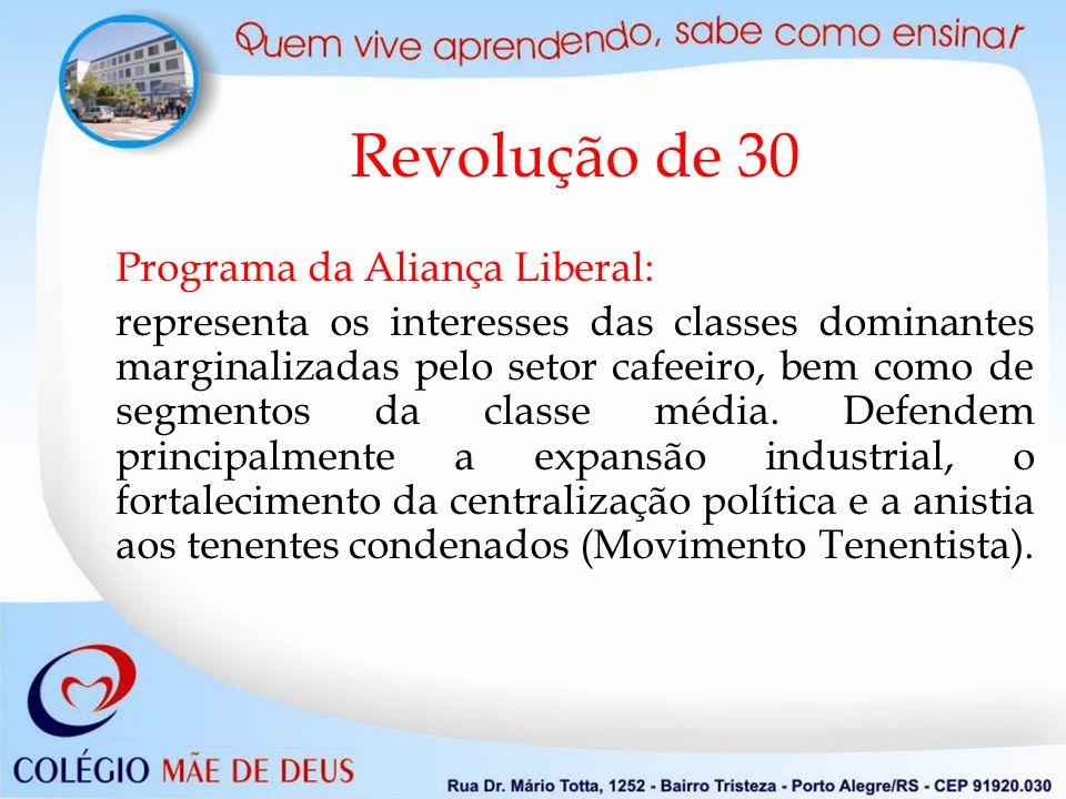 Revolução de 30 Programa da Aliança Liberal: representa os interesses das classes dominantes marginalizadas pelo setor cafeeiro, bem como de segmentos da classe média.