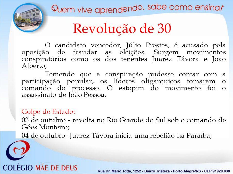 Revolução de 30 O candidato vencedor, Júlio Prestes, é acusado pela oposição de fraudar as eleições. Surgem movimentos conspiratórios como os dos tene