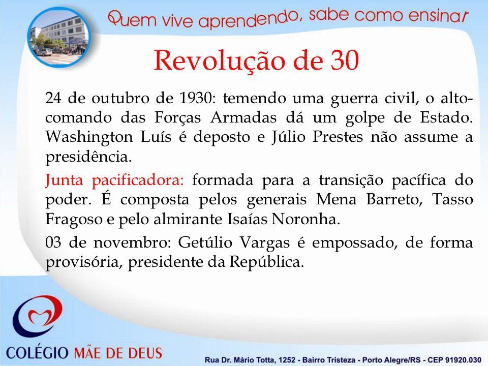 Revolução de 30 24 de outubro de 1930: temendo uma guerra civil, o alto- comando das Forças Armadas dá um golpe de Estado. Washington Luís é deposto e