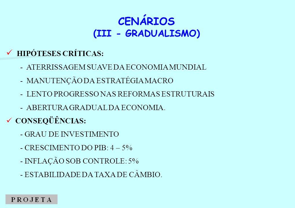 CENÁRIOS (III - GRADUALISMO) HIPÓTESES CRÍTICAS: - ATERRISSAGEM SUAVE DA ECONOMIA MUNDIAL - MANUTENÇÃO DA ESTRATÉGIA MACRO - LENTO PROGRESSO NAS REFOR