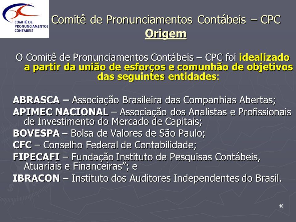 10 Comitê de Pronunciamentos Contábeis – CPC Origem O Comitê de Pronunciamentos Contábeis – CPC foi idealizado a partir da união de esforços e comunhã