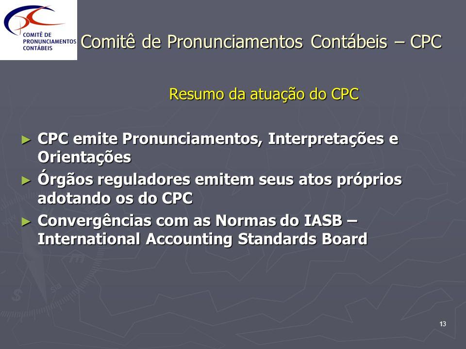 13 Comitê de Pronunciamentos Contábeis – CPC Resumo da atuação do CPC CPC emite Pronunciamentos, Interpretações e Orientações CPC emite Pronunciamento