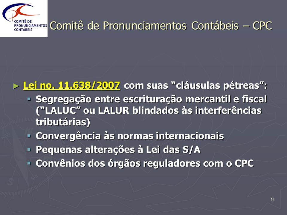 14 Comitê de Pronunciamentos Contábeis – CPC Lei no. 11.638/2007 com suas cláusulas pétreas: Lei no. 11.638/2007 com suas cláusulas pétreas: Segregaçã
