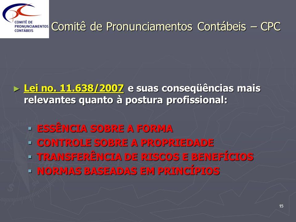 15 Comitê de Pronunciamentos Contábeis – CPC Lei no. 11.638/2007 e suas conseqüências mais relevantes quanto à postura profissional: Lei no. 11.638/20