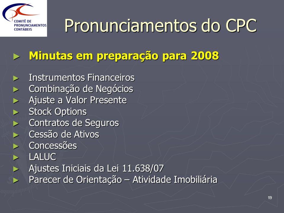 19 Pronunciamentos do CPC Minutas em preparação para 2008 Minutas em preparação para 2008 Instrumentos Financeiros Instrumentos Financeiros Combinação