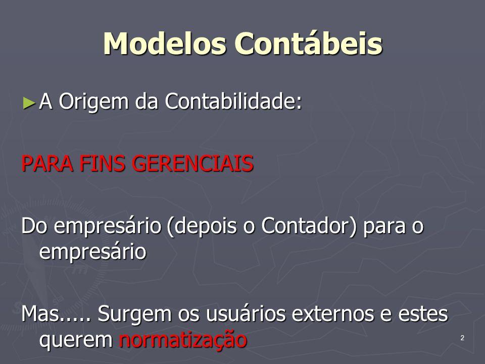 Modelos Contábeis A Origem da Contabilidade: A Origem da Contabilidade: PARA FINS GERENCIAIS Do empresário (depois o Contador) para o empresário Mas..