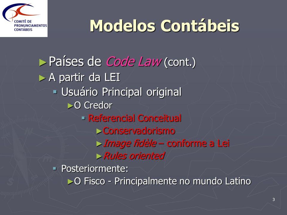 3 Modelos Contábeis Países de Code Law (cont.) Países de Code Law (cont.) A partir da LEI A partir da LEI Usuário Principal original Usuário Principal