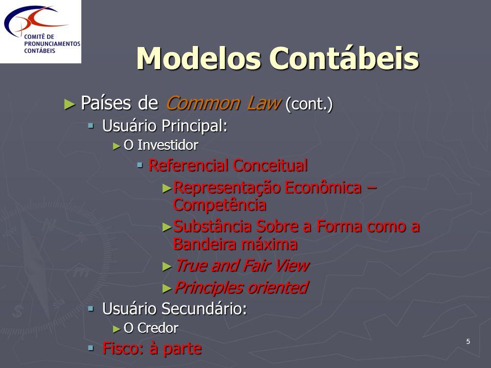 5 Modelos Contábeis Países de Common Law (cont.) Países de Common Law (cont.) Usuário Principal: Usuário Principal: O Investidor O Investidor Referenc