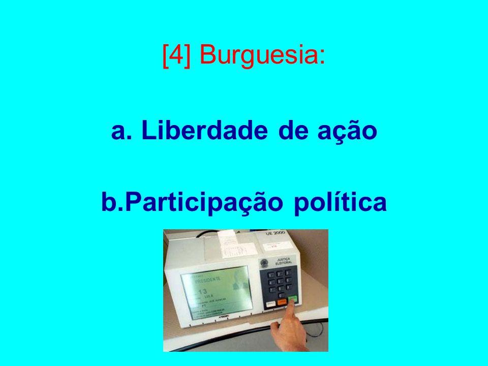 [4] Burguesia: a. Liberdade de ação b.Participação política