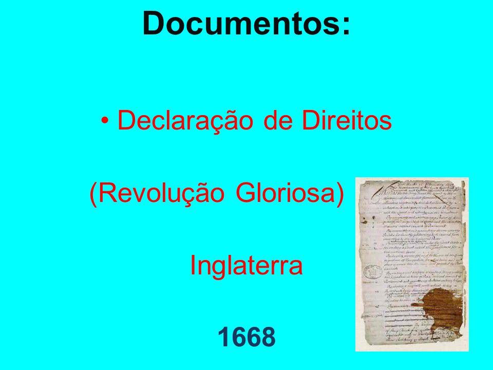 Documentos: Declaração de Direitos (Revolução Gloriosa) Inglaterra 1668