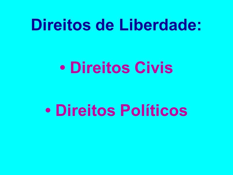 Direitos de Liberdade: Direitos Civis Direitos Políticos