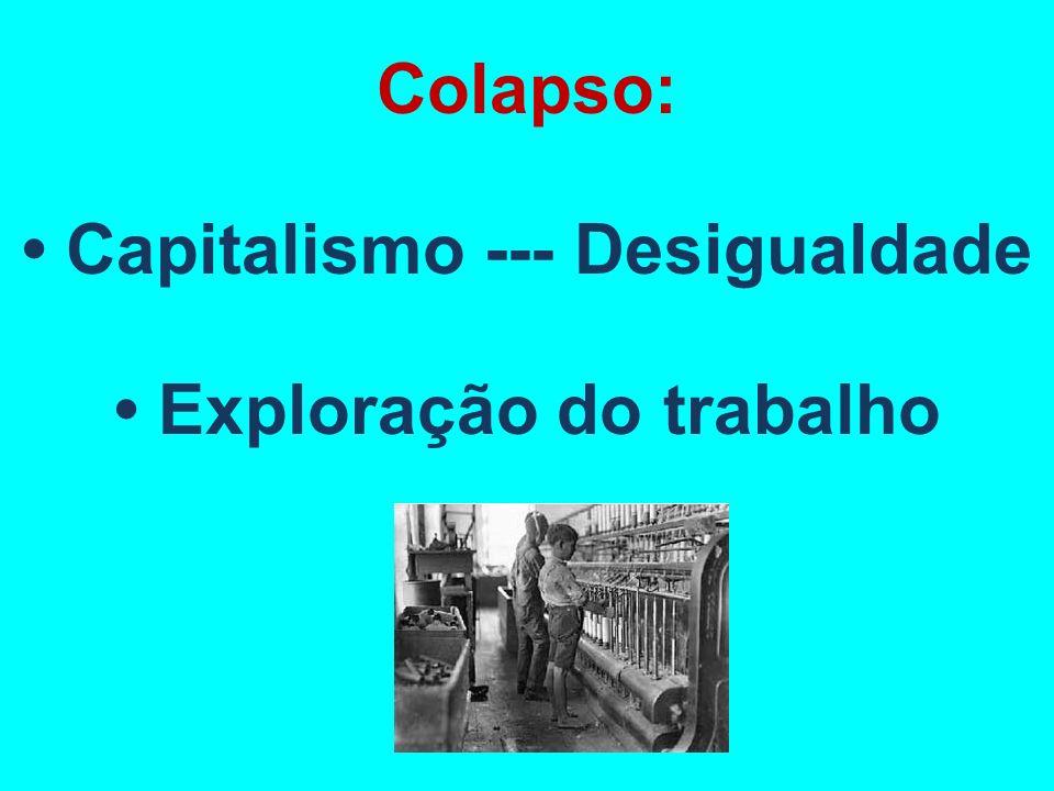 Colapso: Capitalismo --- Desigualdade Exploração do trabalho
