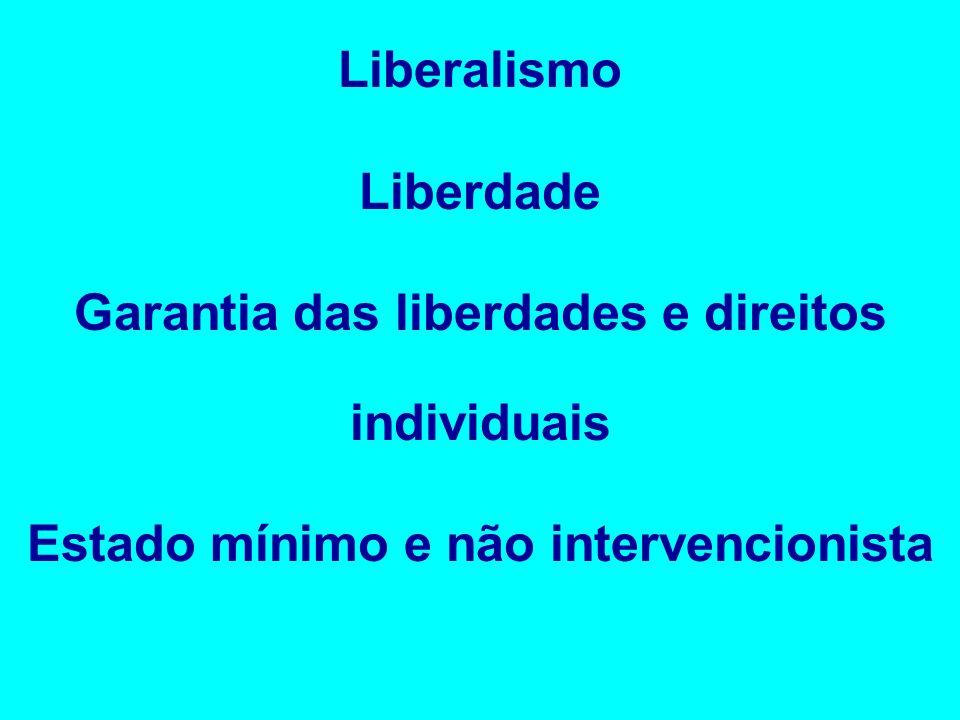 Liberalismo Liberdade Garantia das liberdades e direitos individuais Estado mínimo e não intervencionista