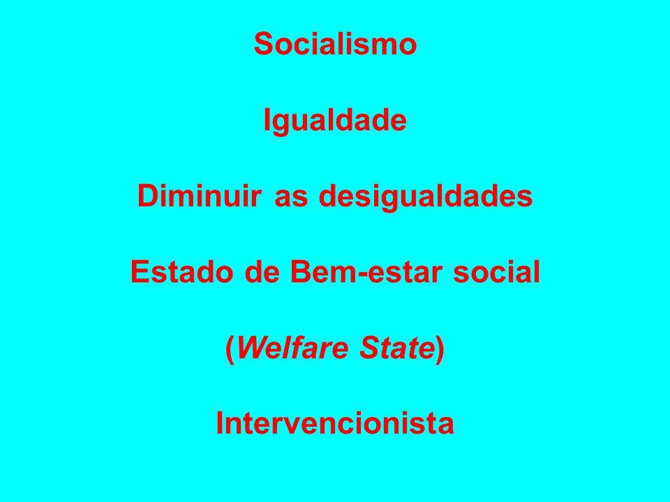 Socialismo Igualdade Diminuir as desigualdades Estado de Bem-estar social (Welfare State) Intervencionista