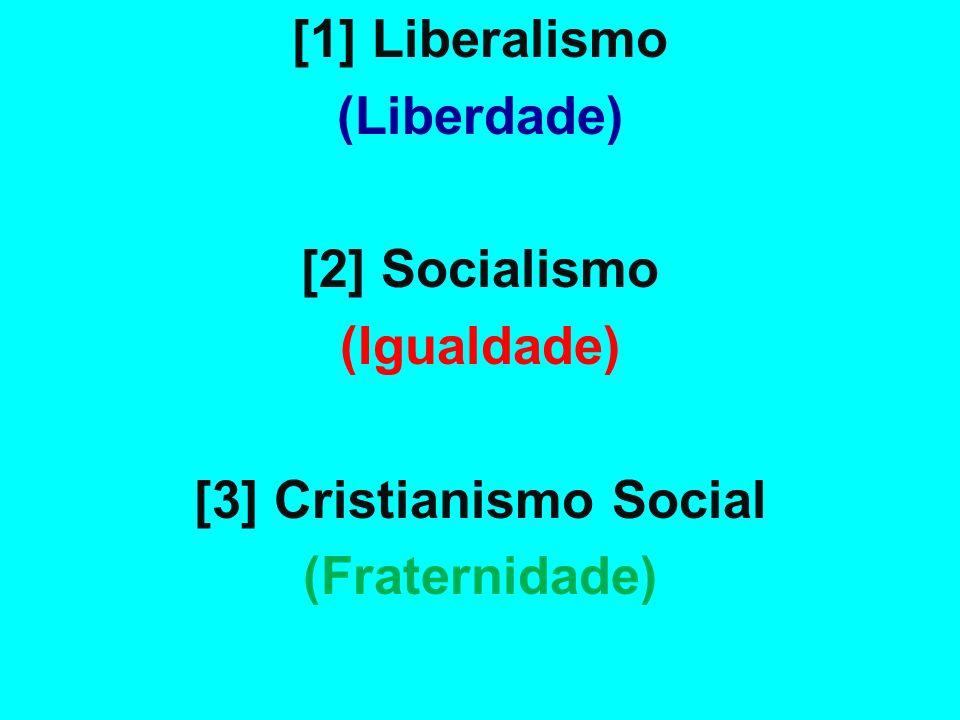 [1] Liberalismo (Liberdade) [2] Socialismo (Igualdade) [3] Cristianismo Social (Fraternidade)