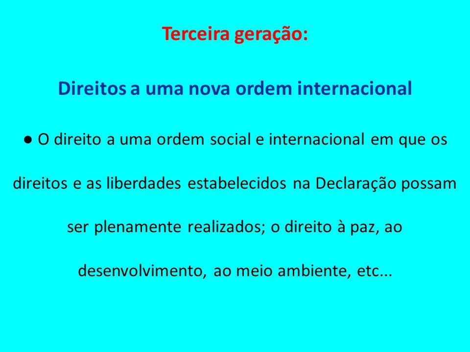 Terceira geração: Direitos a uma nova ordem internacional O direito a uma ordem social e internacional em que os direitos e as liberdades estabelecido