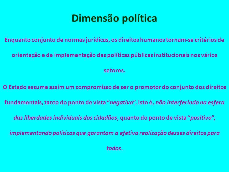 Dimensão política Enquanto conjunto de normas jurídicas, os direitos humanos tornam-se critérios de orientação e de implementação das políticas públic
