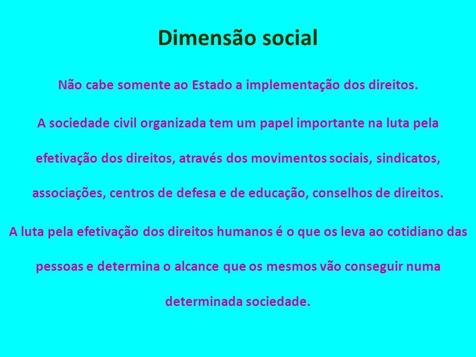 Dimensão social Não cabe somente ao Estado a implementação dos direitos. A sociedade civil organizada tem um papel importante na luta pela efetivação