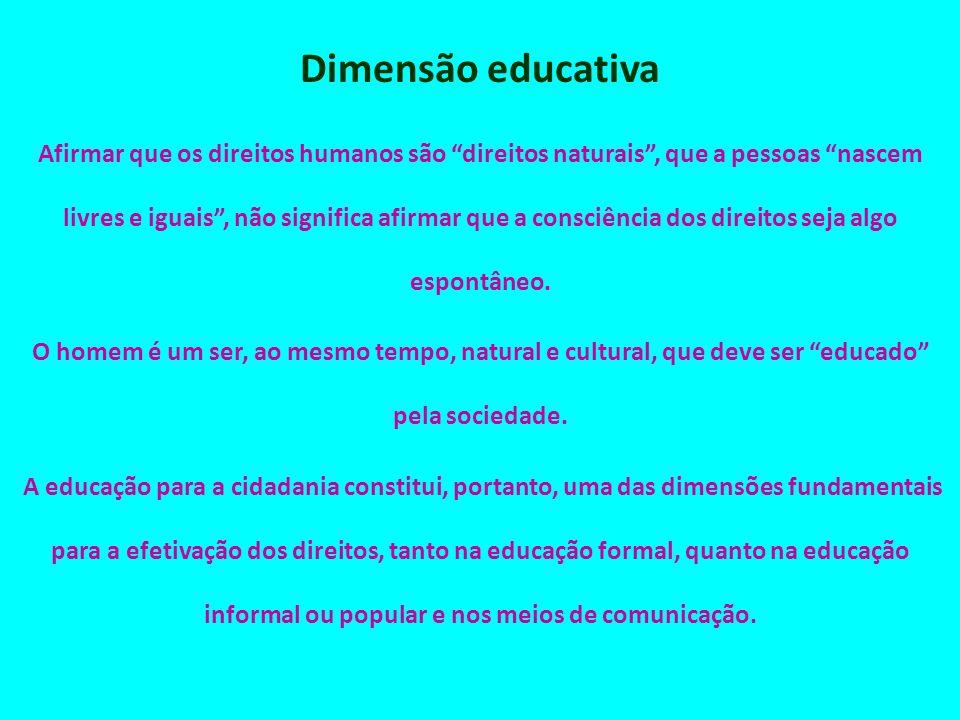 Dimensão educativa Afirmar que os direitos humanos são direitos naturais, que a pessoas nascem livres e iguais, não significa afirmar que a consciênci