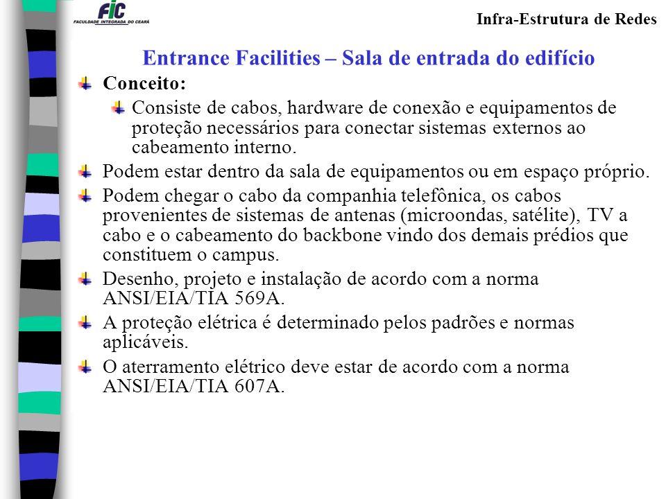 Infra-Estrutura de Redes Equipment Rooms – Sala de equipamentos Conceito: Espaço destinado para acomodação da infra-estrutura especial para os equipamentos de telecomunicações e computadores e os operadores.