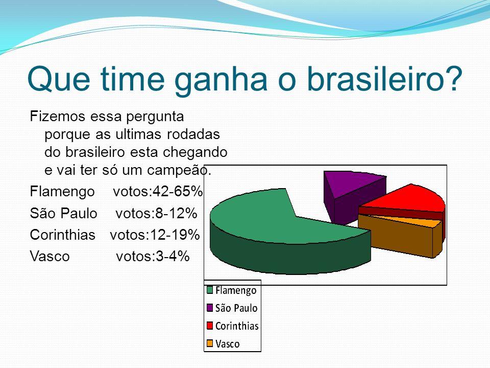 Que time ganha o brasileiro? Fizemos essa pergunta porque as ultimas rodadas do brasileiro esta chegando e vai ter só um campeão. Flamengo votos:42-65