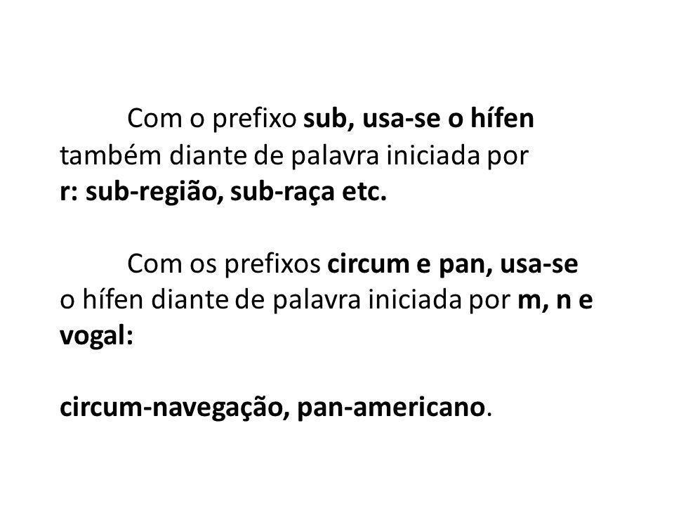 Com o prefixo sub, usa-se o hífen também diante de palavra iniciada por r: sub-região, sub-raça etc. Com os prefixos circum e pan, usa-se o hífen dian