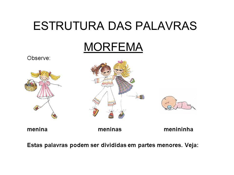 ESTRUTURA DAS PALAVRAS MORFEMA Observe: menina meninas menininha Estas palavras podem ser divididas em partes menores. Veja: