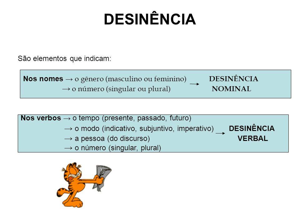 DESINÊNCIA São elementos que indicam: Nos nomes o gênero (masculino ou feminino) DESINÊNCIA o número (singular ou plural) NOMINAL Nos verbos o tempo (presente, passado, futuro) o modo (indicativo, subjuntivo, imperativo) DESINÊNCIA a pessoa (do discurso) VERBAL o número (singular, plural)