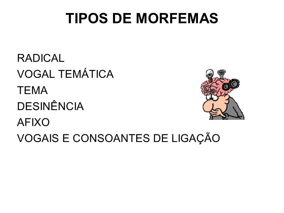 TIPOS DE MORFEMAS RADICAL VOGAL TEMÁTICA TEMA DESINÊNCIA AFIXO VOGAIS E CONSOANTES DE LIGAÇÃO