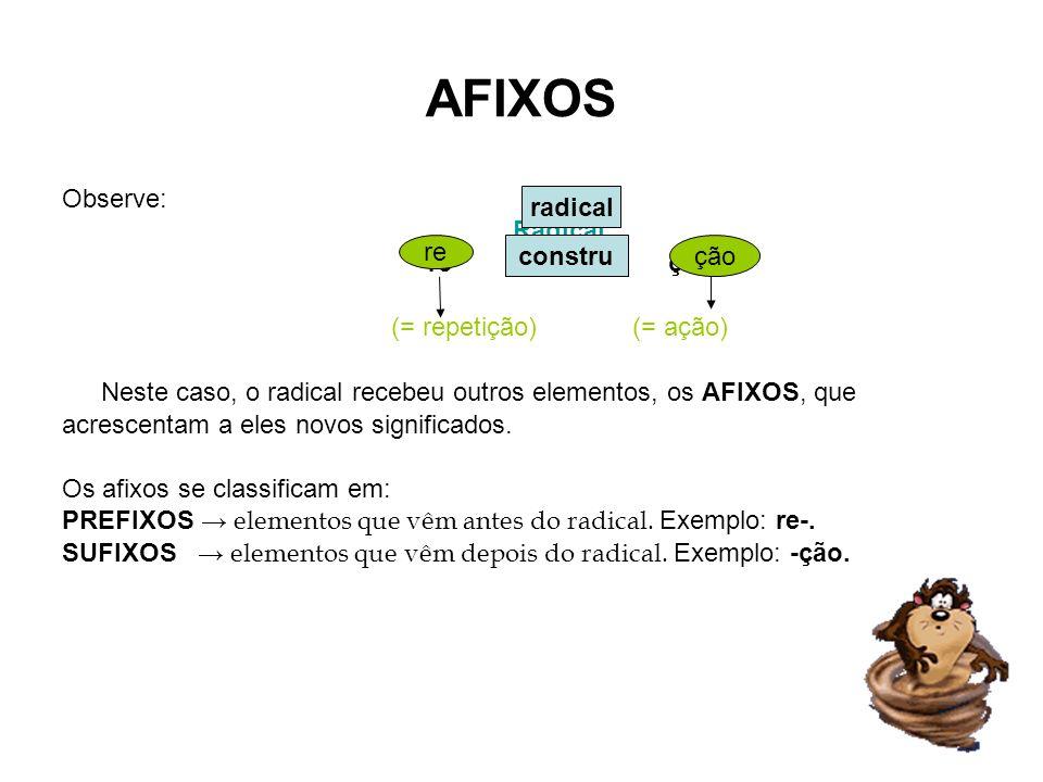 AFIXOS Observe: Radical re constru ção (= repetição) (= ação) Neste caso, o radical recebeu outros elementos, os AFIXOS, que acrescentam a eles novos