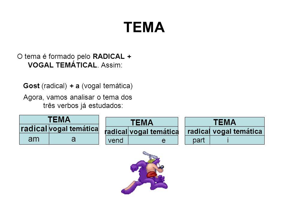TEMA O tema é formado pelo RADICAL + VOGAL TEMÁTICAL. Assim: Gost (radical) + a (vogal temática) Agora, vamos analisar o tema dos três verbos já estud